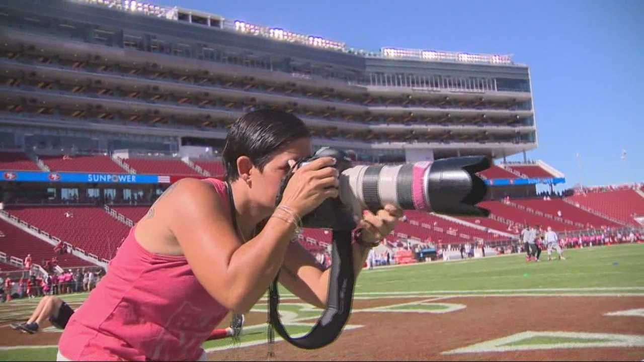 Kym Fortino, a sideline photographer for the 49ers, spent the last year battling breast cancer.
