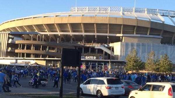 Outside of Kauffman Stadium in Kansas City, Mo., before Game 1 of the World Series. (Oct. 21, 2014)