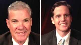 Tom Torlakson is on the left and Marshall Tuck is on the right (October 2014).