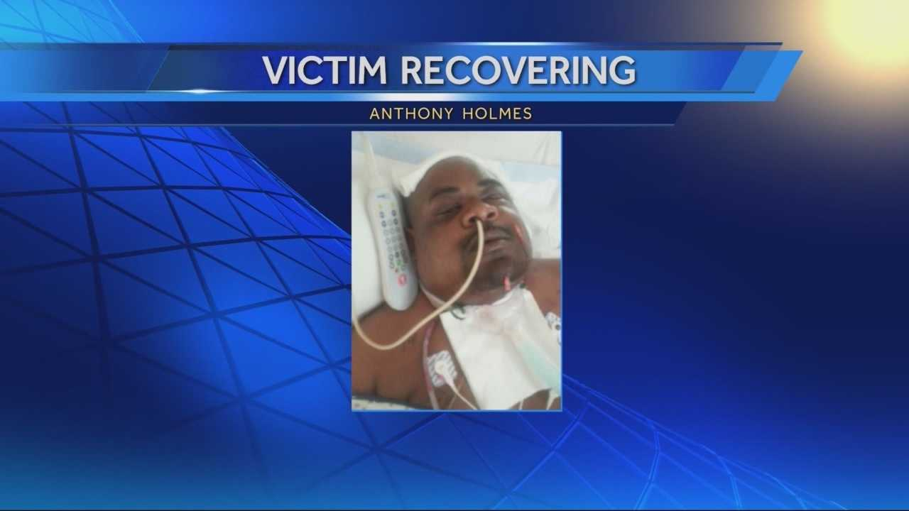 Friends of Anthony Holmes said it is a miracle the father of five survived after he was shot when he refused to give his keys to a man accused of shooting two sheriff's deputies.