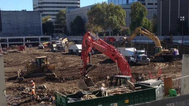 Activity at the arena site on Tuesday (Oct. 28, 2014).