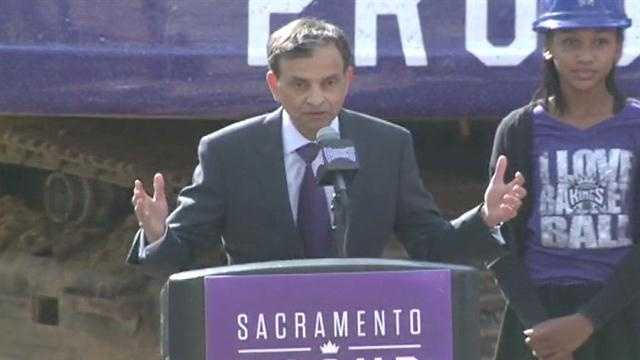 "GroundbreakingOct. 29, 2014 -- Mayor Kevin Johnson and Kings owner Vivek Ranadive break ground for the downtown arena site. The ceremony marks the symbolic transition from the demolition phase to the construction phase. ""It's going to be quite simply one of the most iconic structures on the planet,"" Ranadive said."
