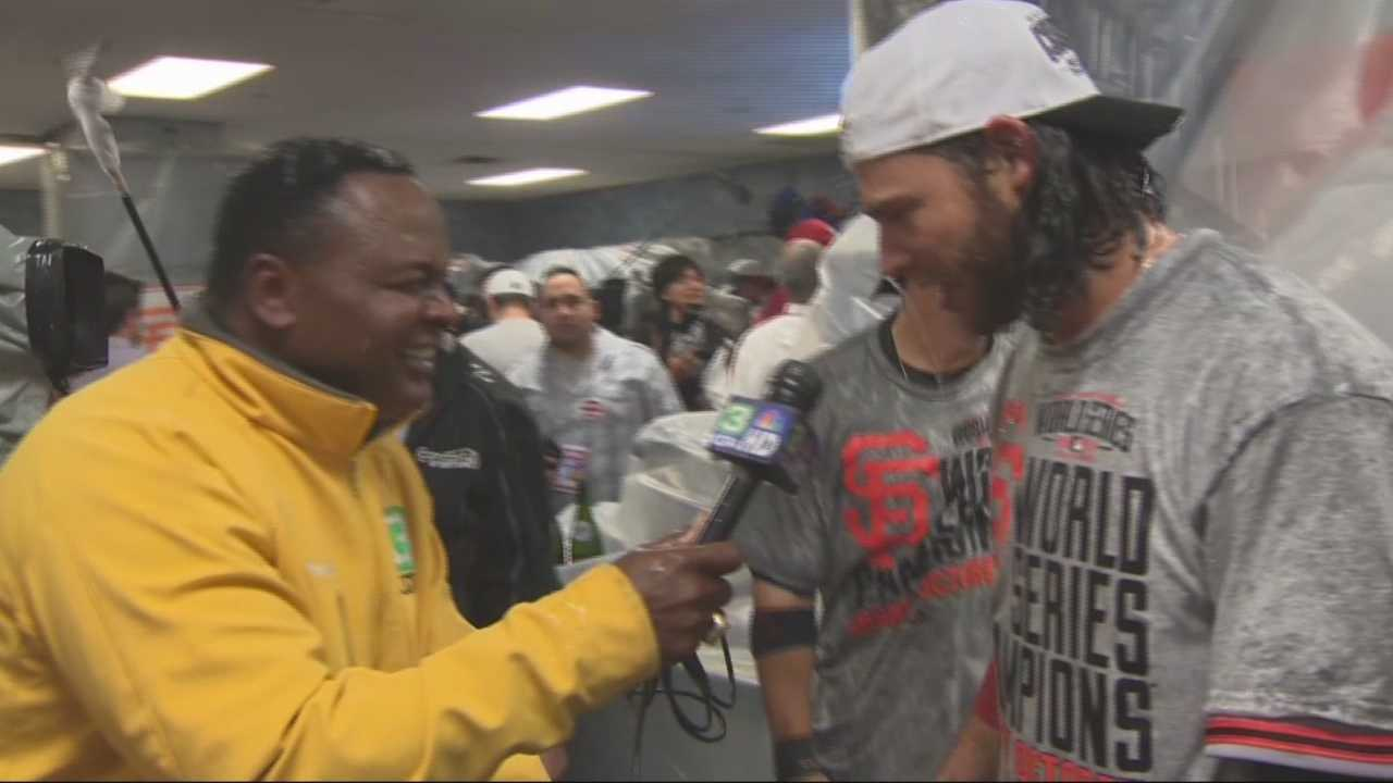 Del Rodgers interviews Giants stars Brandon Belt, Brandon Crawford and Hunter Pence, following Game 7 of the World Series.