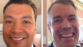 Candidate Alex Padilla is at left and candidate Pete Peterson is on the right (October 2014).