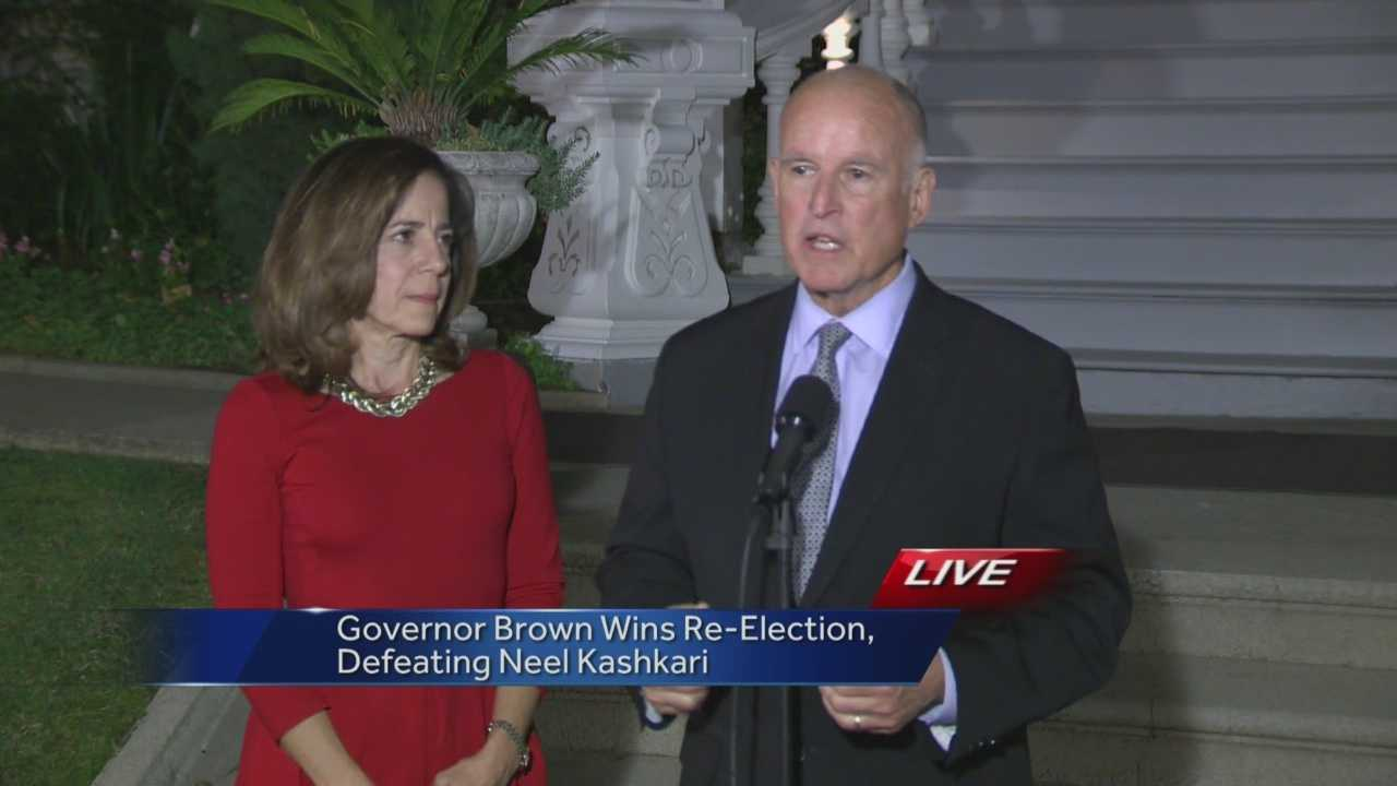 Gov. Jerry Brown was re-elected for a historic fourth term as California's governor after defeating Republican challenger Neel Kashkari.