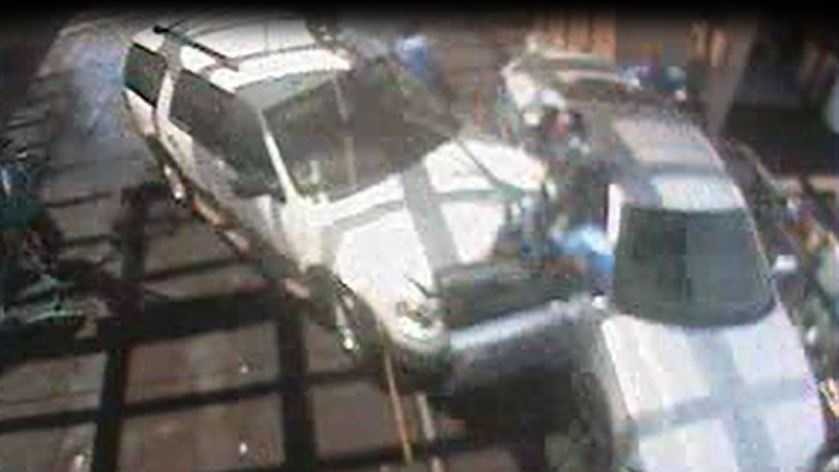 Surveillance video provided by Bubbles Car Wash shows the moment of impact.