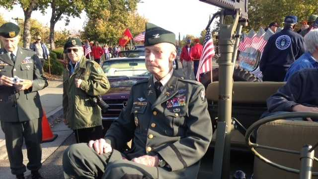 Ret. Colonel DeLyle Redmond takes part in Folsom's Veteran's Day parade.