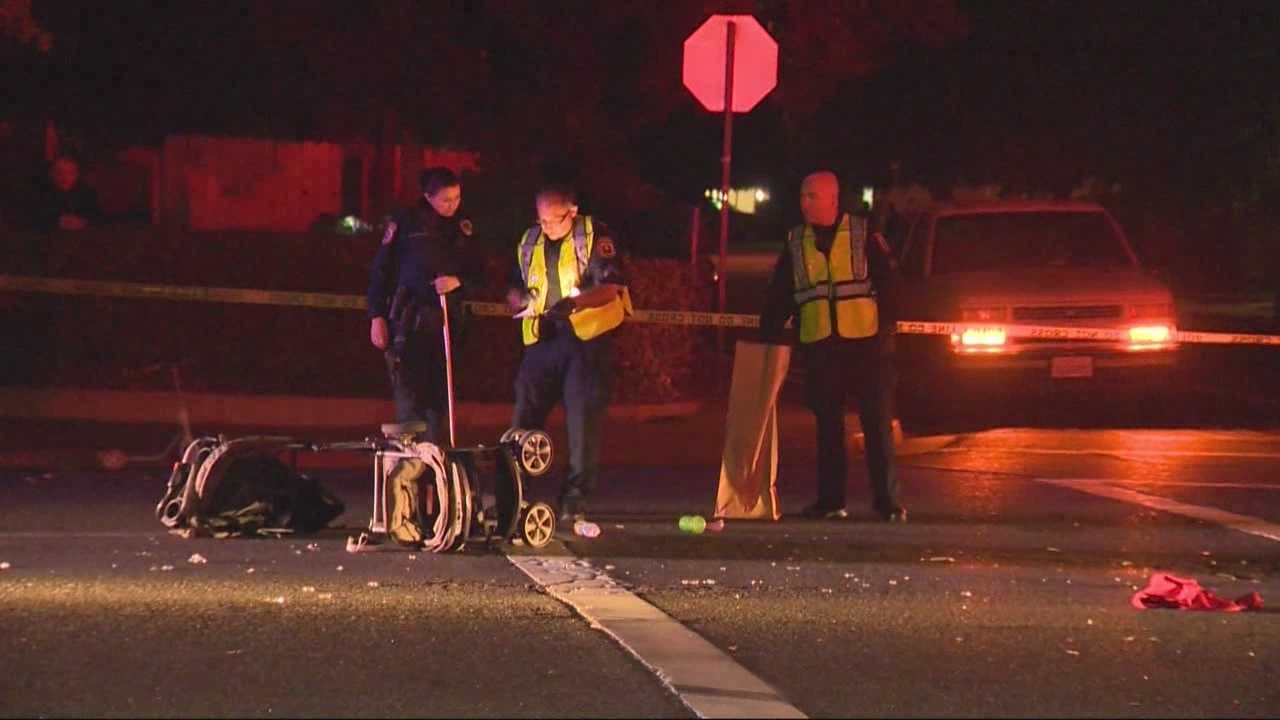 A driver plowed into a woman and three children as they crossed the street in Turlock on Tuesday evening -- and the man behind the wheel tried to speed away, until a witness took action, police said.