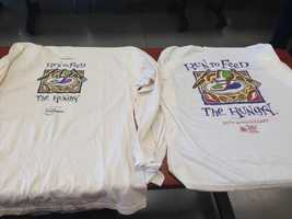 Left: First T-shirt from the race next to last year's shirt.