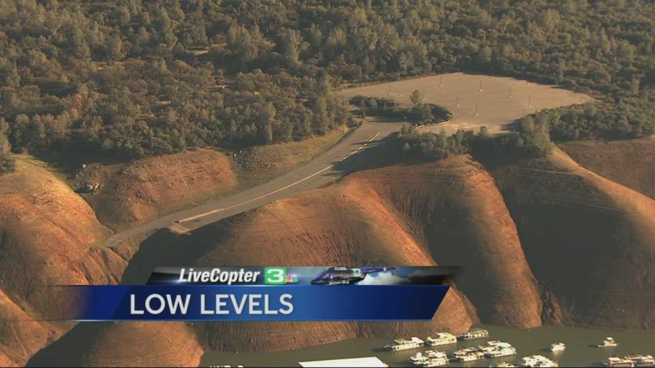 California's drought has taken a huge toll on Lake Oroville, the second-largest reservoir in state. LiveCopter3 flew over the lake on Tuesday to take a look at the water levels -- and our pilot came across a pretty disturbing image: a road that looks like it ends abruptly is actually a boat ramp. You can see the parking lot right above it. Meteorologist Mark Finan said the lake is nearing record-low levels, but probably won't get as low as it did in the mid-'70s.