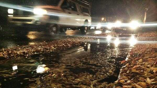 Rain filled gutters and roadways in the Sacramento region Tuesday (Dec. 2, 2014).