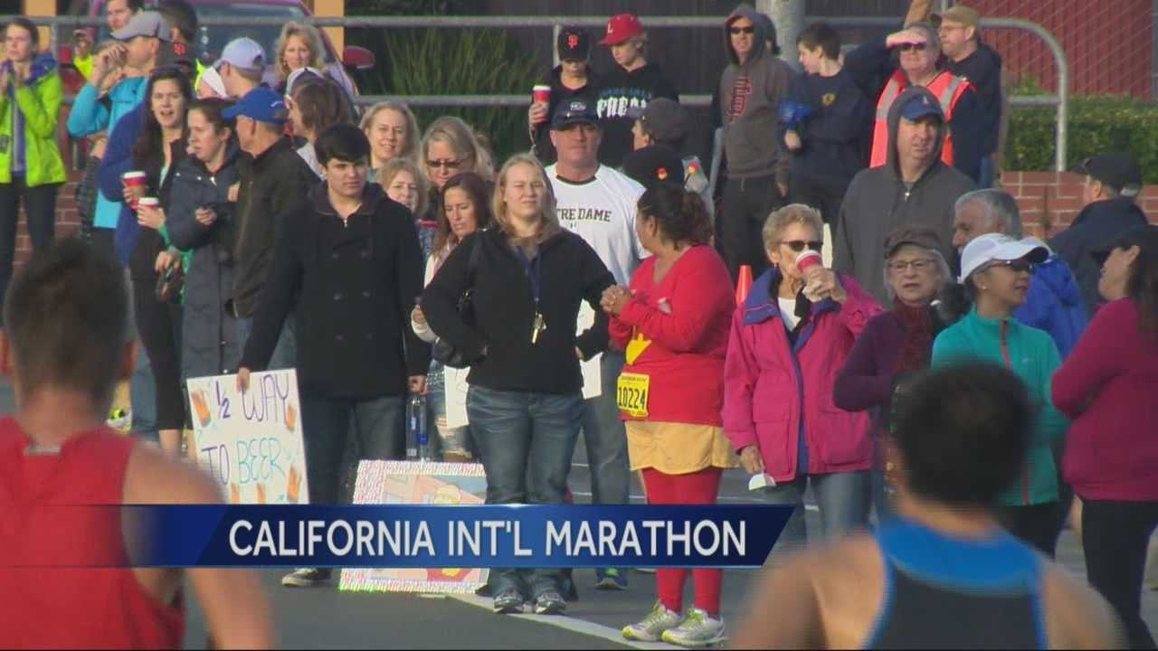 Spectators lined the route of the 26.2 mile California International Marathon to cheer on the runners.