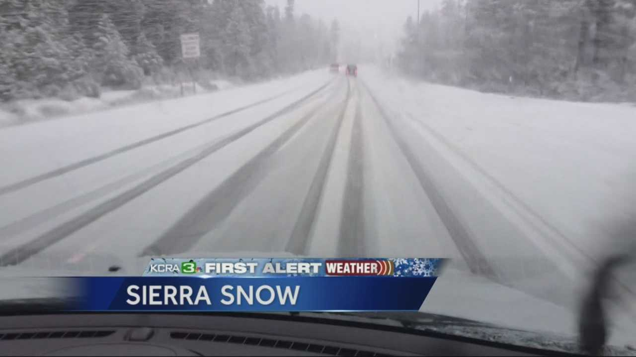 Richard Sharp reports from the Sierra Nevada, where snow was coming down nicely Thursday.