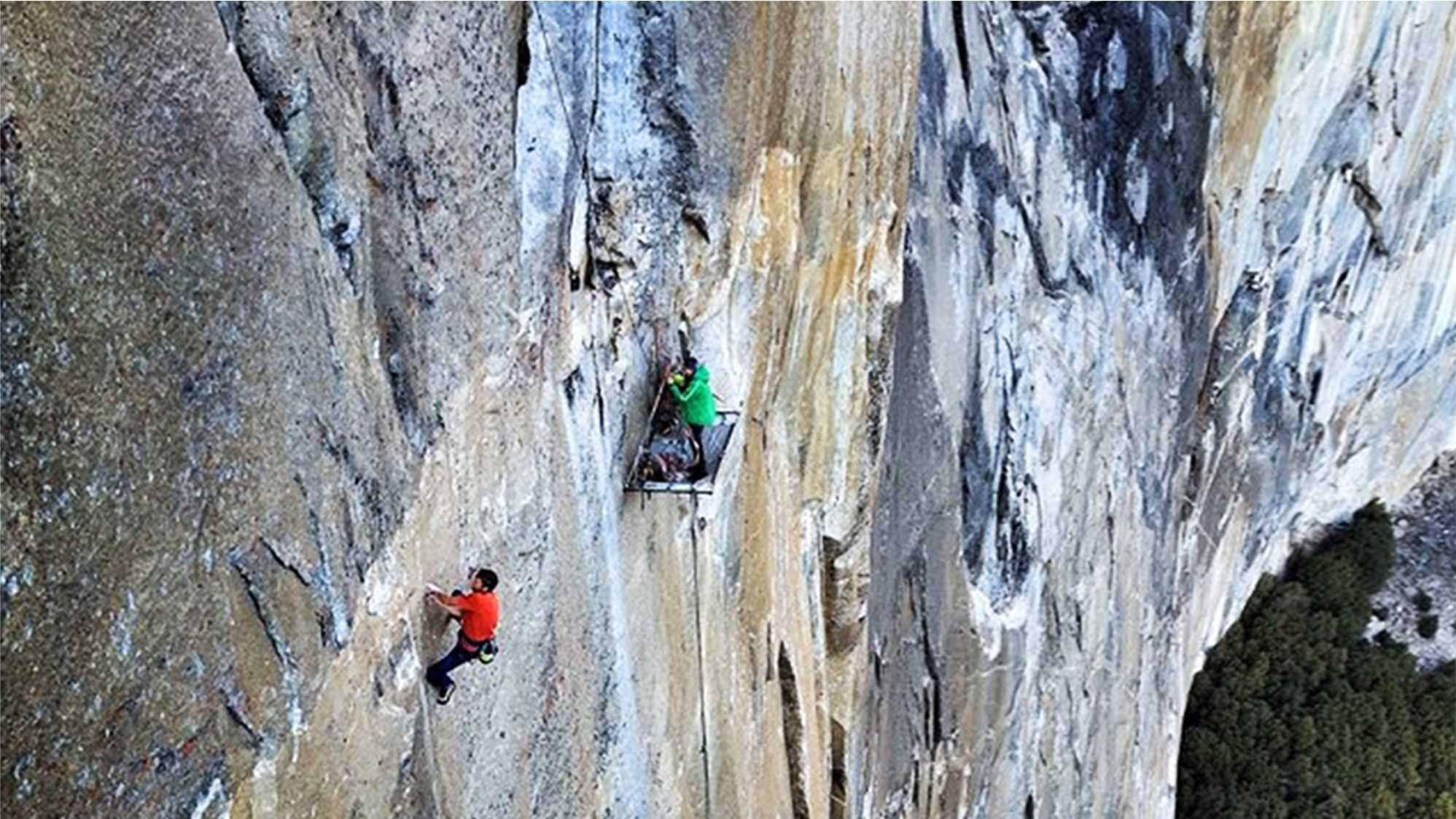 Kevin Jorgeson, left, and Tommy Caldwell, right, are climbing El Capitan's Dawn Wall.