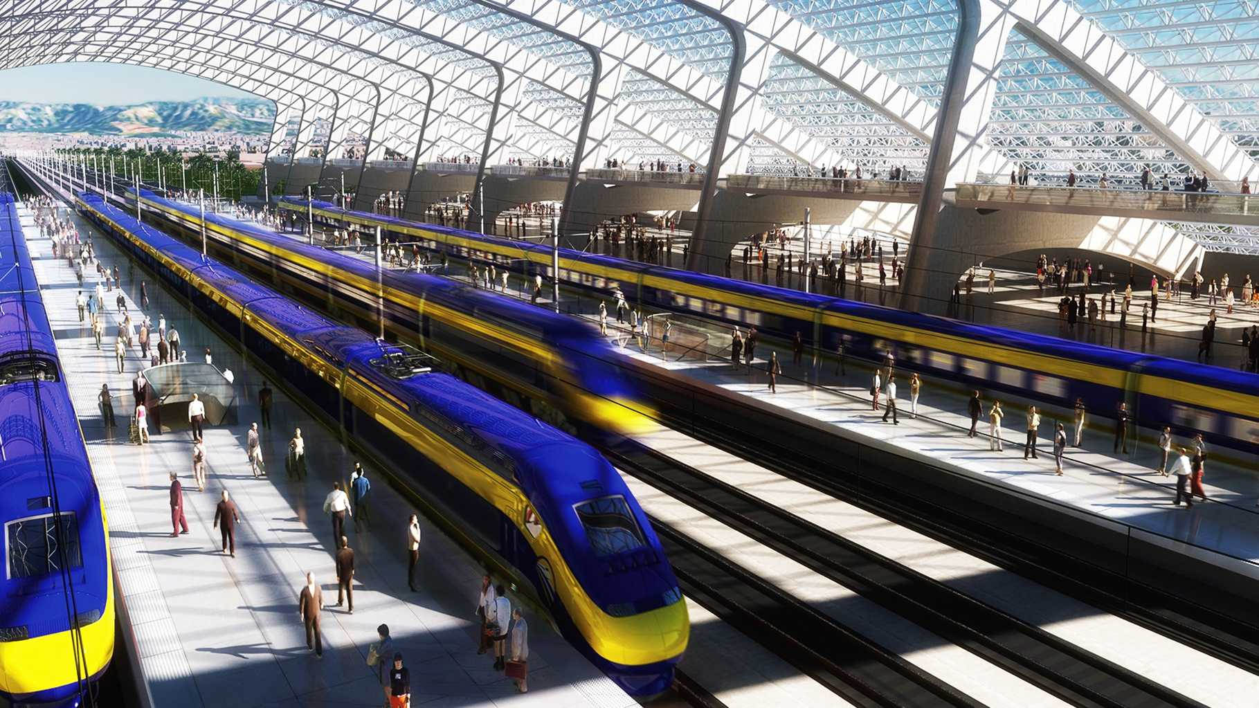 Renderings from the California High-Speed Rail Authority show how a rail platform would look.