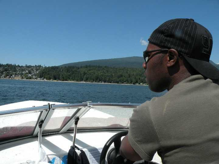 4.) When I get a little down time, I enjoy speed-boating -- here, I'm on a trip to Gibsons Landing on Vancouver Island.
