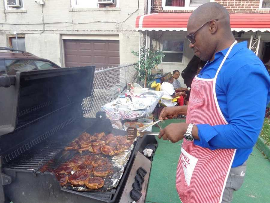 6.) At any family gathering, I am considered the king of the grill. Here I am at a family event in Brooklyn.