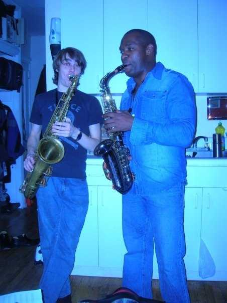 8.) I later moved on to the alto saxaphone. This is me with my very patient music instructor, Patrick, in Greenwich Village -- and I'm wearing a pretty awesome Canadian tux, don't you think?