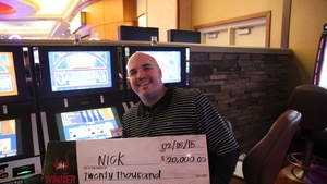 Nick from Fair Oaks won a $20,000 jackpot from Red Hawk Casino on Sunday.