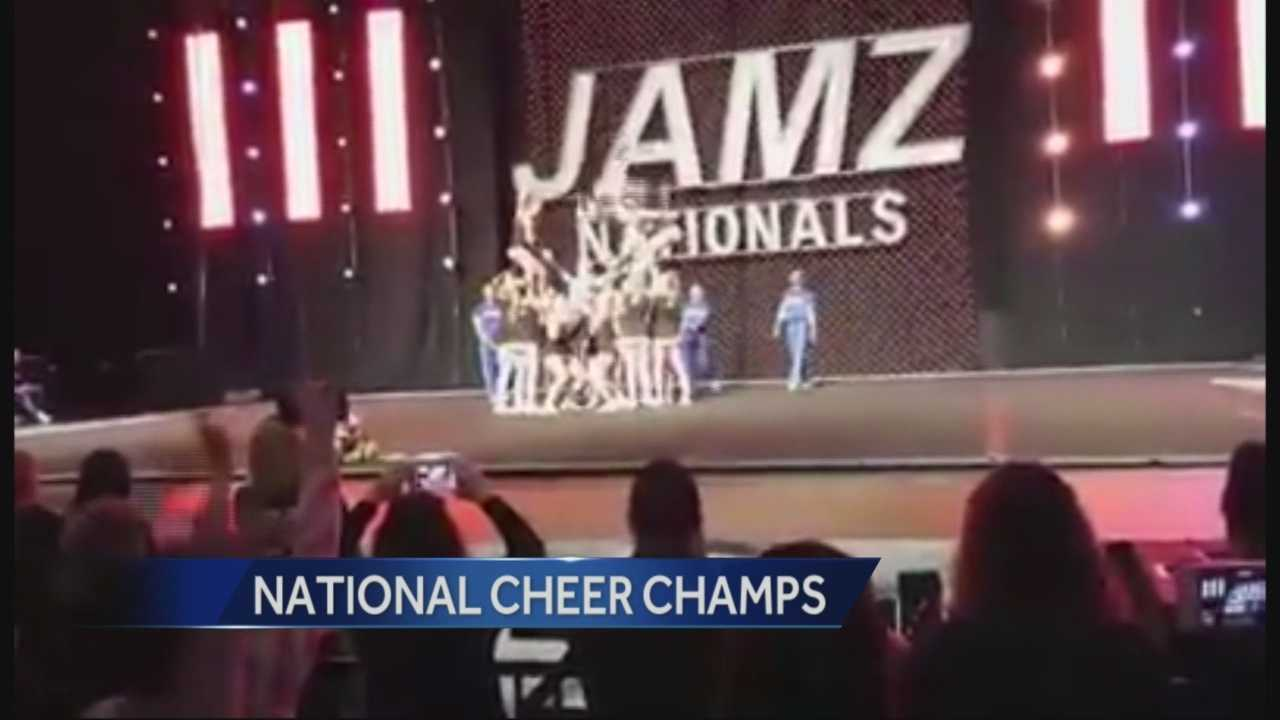 The cheerleaders at Roseville High School returned to school Monday as national champions.