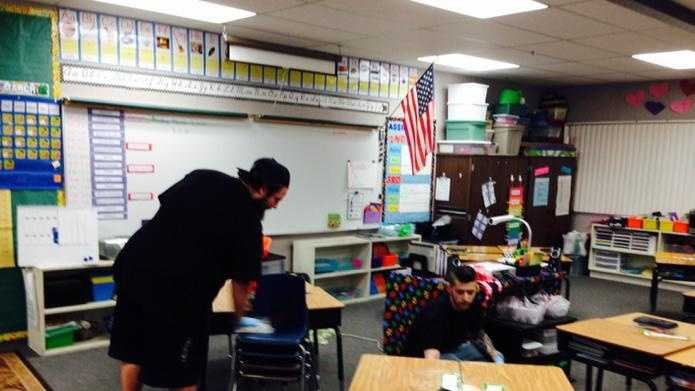 A classroom is disinfected Monday at Reese Elementary in Lodi after two students tested positive for E. coli (March 2, 2015).