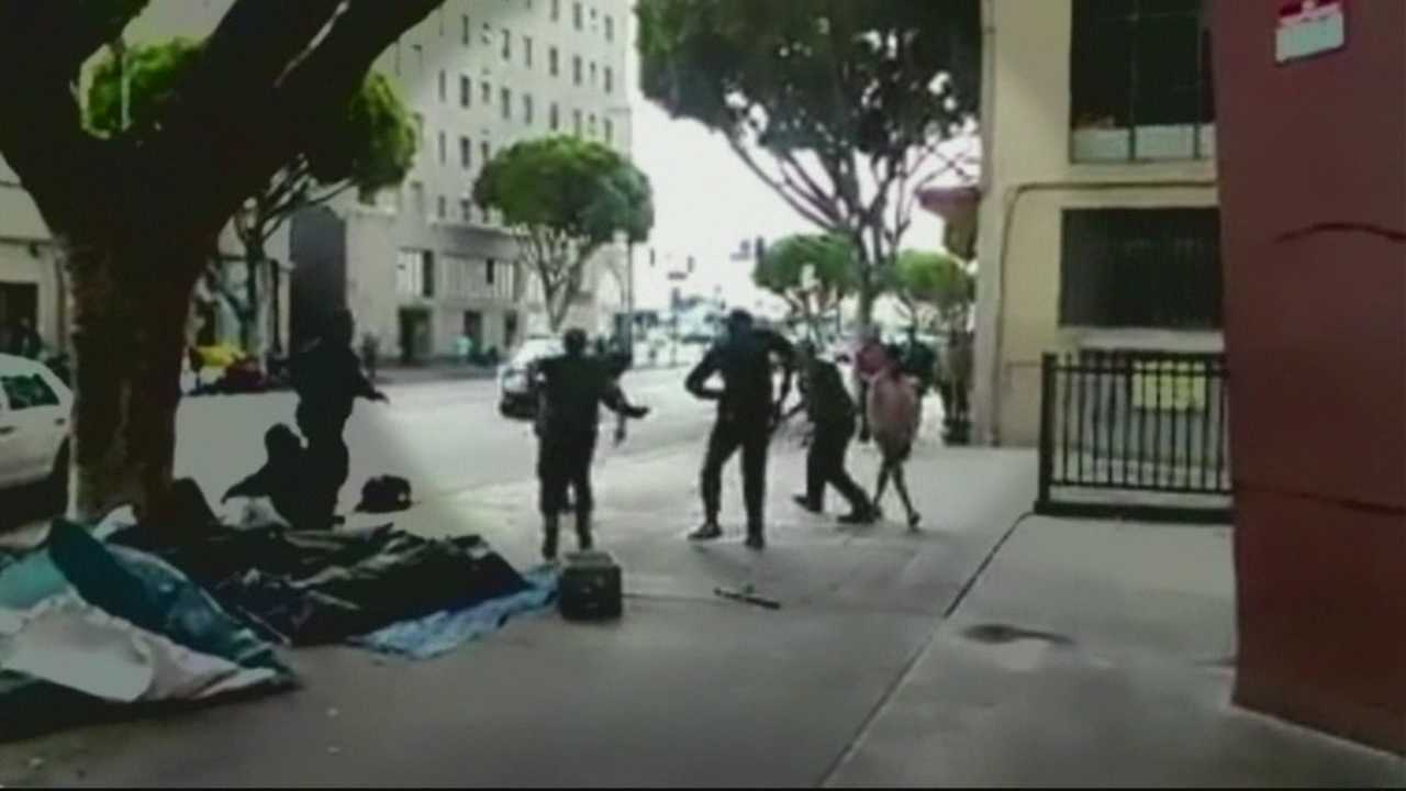 The three officers who fired their weapons in the videotaped struggle were veterans of the Skid Row beat who had special training to deal with               mentally ill and other people in the downtrodden area, police leaders said.