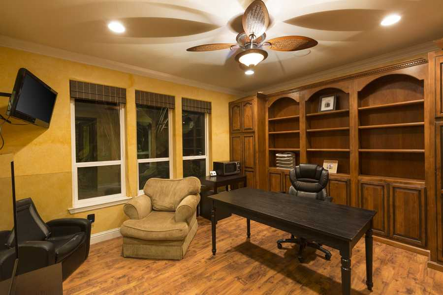 The master suite features a reading room and gym.