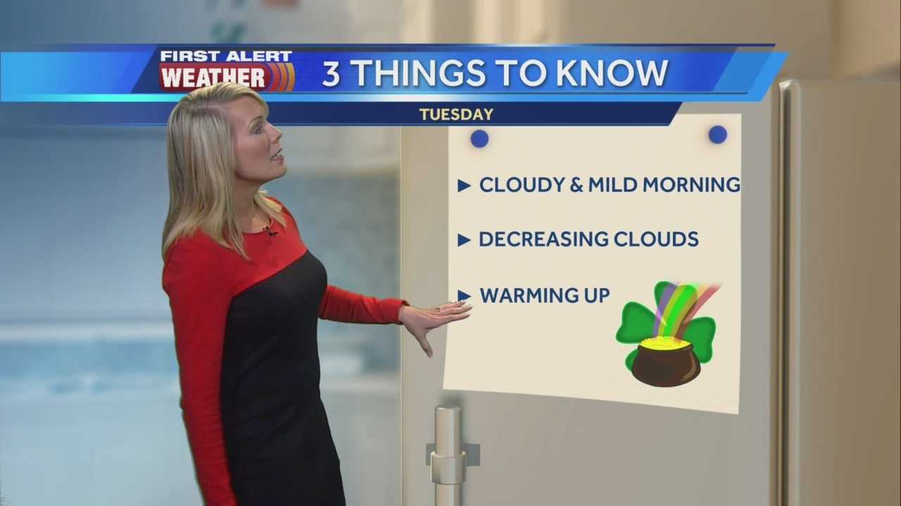 KCRA's Tamara Berg takes a look at three things you need to know about Tuesday's St. Patrick's Day forecast.