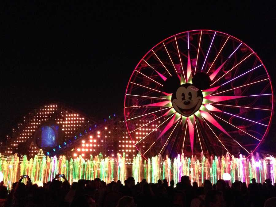4. World of Color is a must: If you haven't see World of Color yet, you definitely need to add the nighttime lights/water/fire/laser show to your list. The original show, which debuted in 2010, cost $75 million to design and build and is shown in the lagoon in front of Mickey's Fun Wheel, near Paradise Pier. For a good viewing spot, make sure to get a FASTPASS the morning of the show you plan on attending. Head to Grizzly River Run for the FASTPASS and to pick a showtime, but still make sure you get to the viewing area well ahead of time to set up camp for the show.