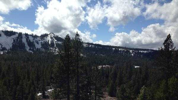 This photo of snow, or lack thereof, in the Sierra Nevada after several Lake Tahoe ski resorts closed in mid-March.