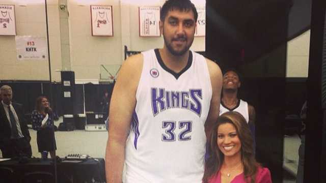 KCRA's Lisa Gonzales with Kings center Sim Bhullar.
