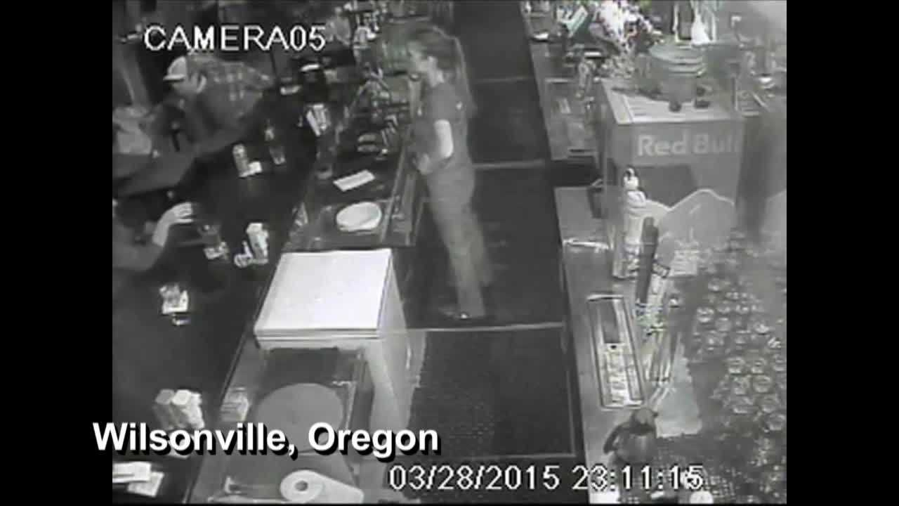 A security camera was rolling when a 27-year-old customer got irate and threw several chairs at a bartender.