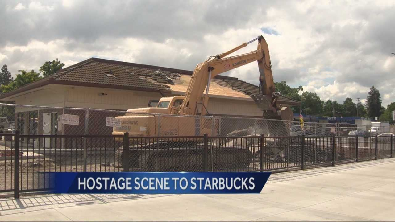 A demolition team was seen working throughout the day Wednesday in Stockton, in an effort to transform the Bank of the West where a deadly crime spree started into a well-known coffee shop.