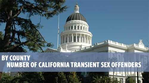 There were 1,448 transient sex offender parolees in California as of Feb. 28, according to data released by the California Department of Corrections and Rehabilitation. Cycle through this slideshow to see a breakdown of how many transient sex offender parolees live in each county. ***Note: Counties that aren't listed had no transient sex offenders as of Feb. 28.