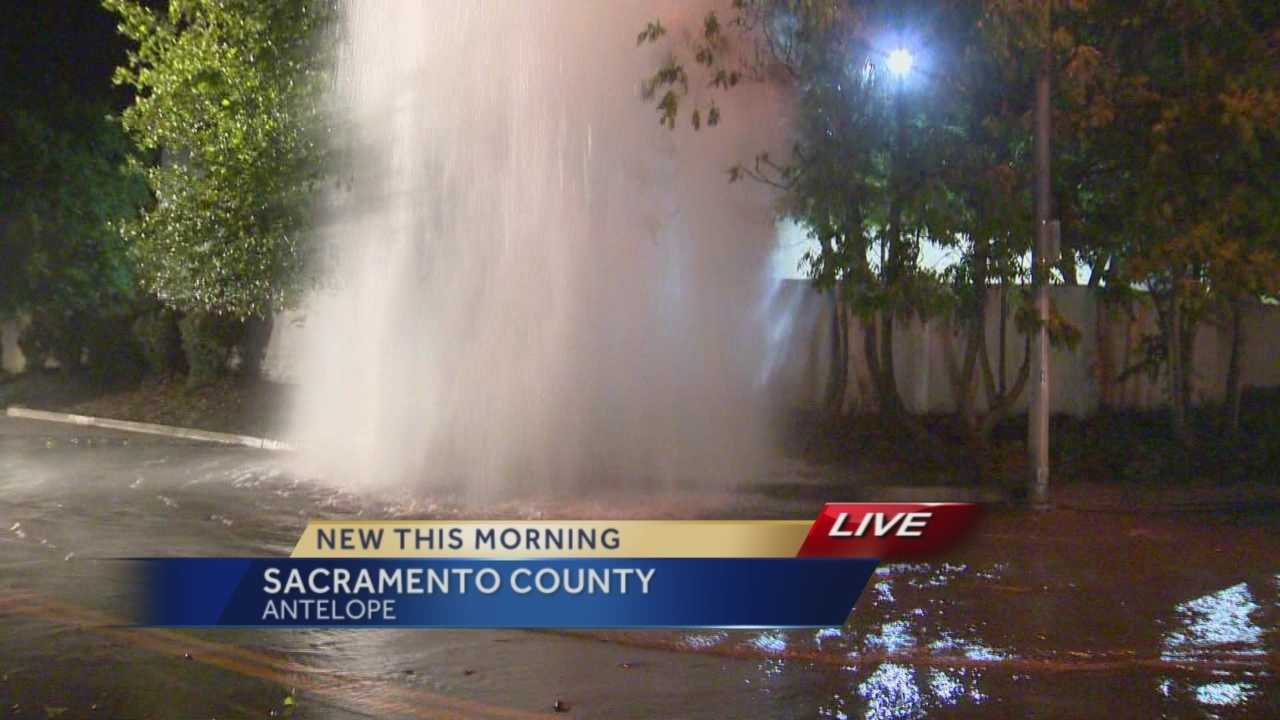 Thousands of gallons of water gushed from a fire hydrant in Antelope for about two hours and flooded a nearby storage facility.