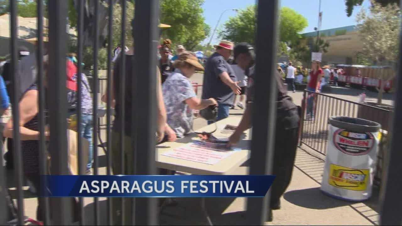 Long lines formed outside the Asparagus Festival as thousands of people waited for the ticket booths which opened up late.