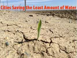 See which cities saved the least amount of gallons of water (based on percentage) from June 2014-15, compared to the same time period in 2013-14.