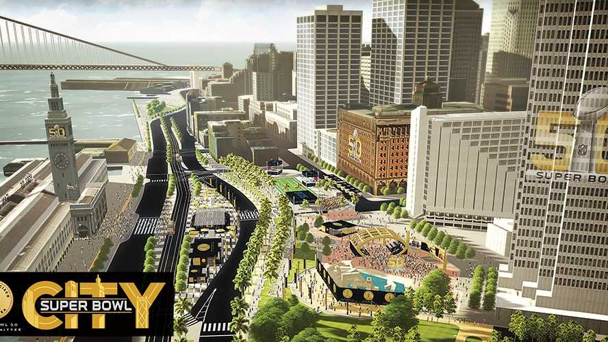 An artist rendering of the Super Bowl 50 City along the Embarcadero in San Francisco. Super Bowl 50 will take place Feb. 7, 2016 at Levi's Stadium in Santa Clara.
