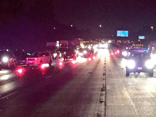 Traffic began backing up on westbound Highway 50 early Wednesday morning. At one point, the California Highway Patrol had all lanes shut down.