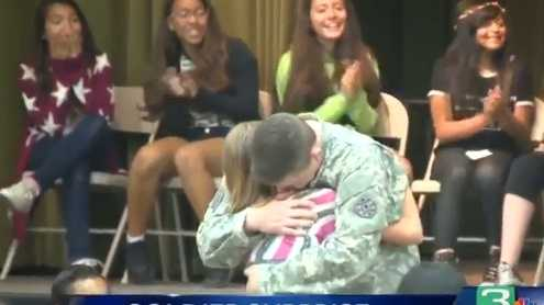 Sgt. Gary Helms pulled off a surprise homecoming on his daughter at her Modesto middle school.