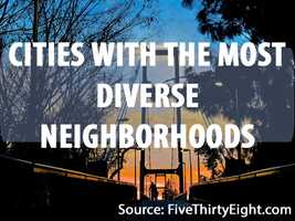 """This data is based on what percentage of people in a particular neighborhood belong to a different racial group. The term """"neighborhood"""" originates from the census tracts, which are groups of about 4,000 people. Here are the top 10 cities with the most diverse neighborhoods.(Based on data from Brown University's American Communities Project)"""