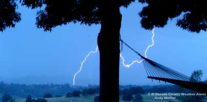 A KCRA 3 viewer captured this photo of lightning in flashing across the sky in El Dorado County. (May 7, 2015)