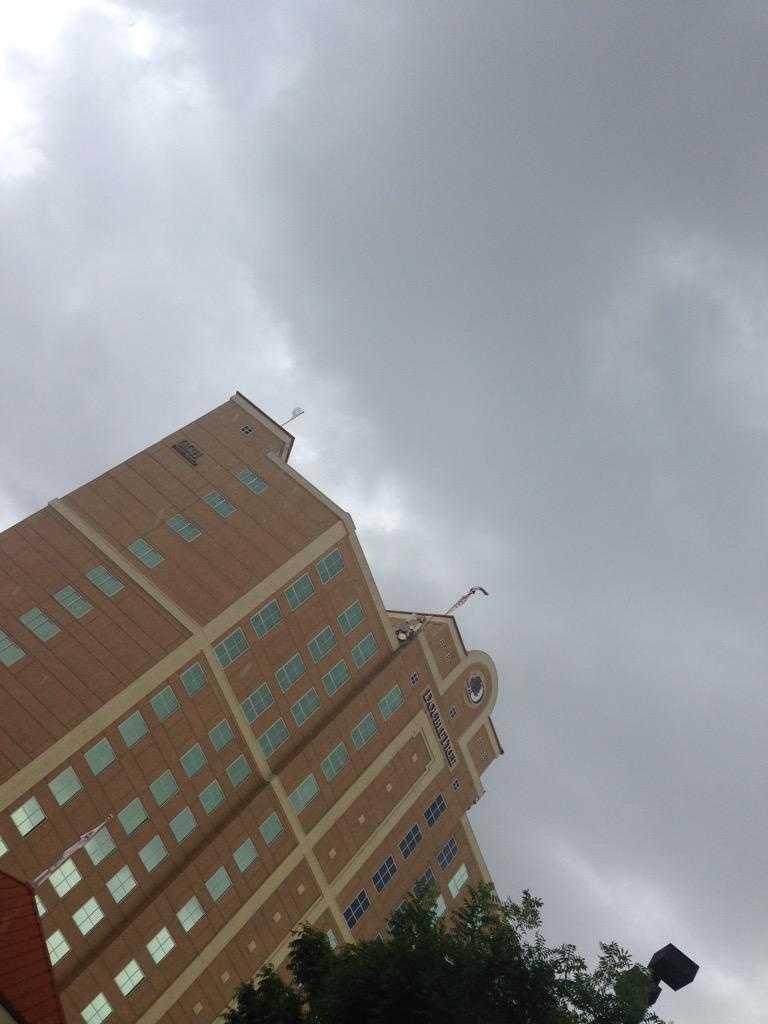 Rain drops falling in downtown Modesto. (May 7, 2015)
