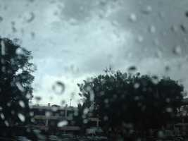 KCRA's Linda Mumma took this photo of rain falling Thursday in downtown Modesto. (May 7, 2015)