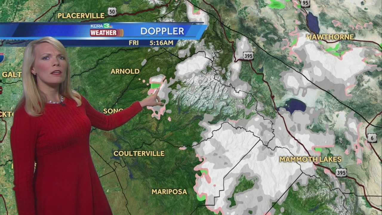 KCRA 3 Weather meteorologist Tamara Berg looks at the chance for more snow and T-storms in the mountains and warmer weather for the weekend.