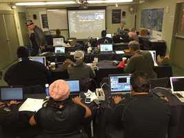 The media room at the Amgen Tour of California.