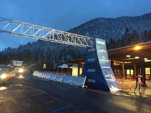 The start of Stage 1 of the women's Amgen Tour of California in South Lake Tahoe.