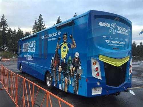 An Amgen Tour of California tour bus in South lake Tahoe.