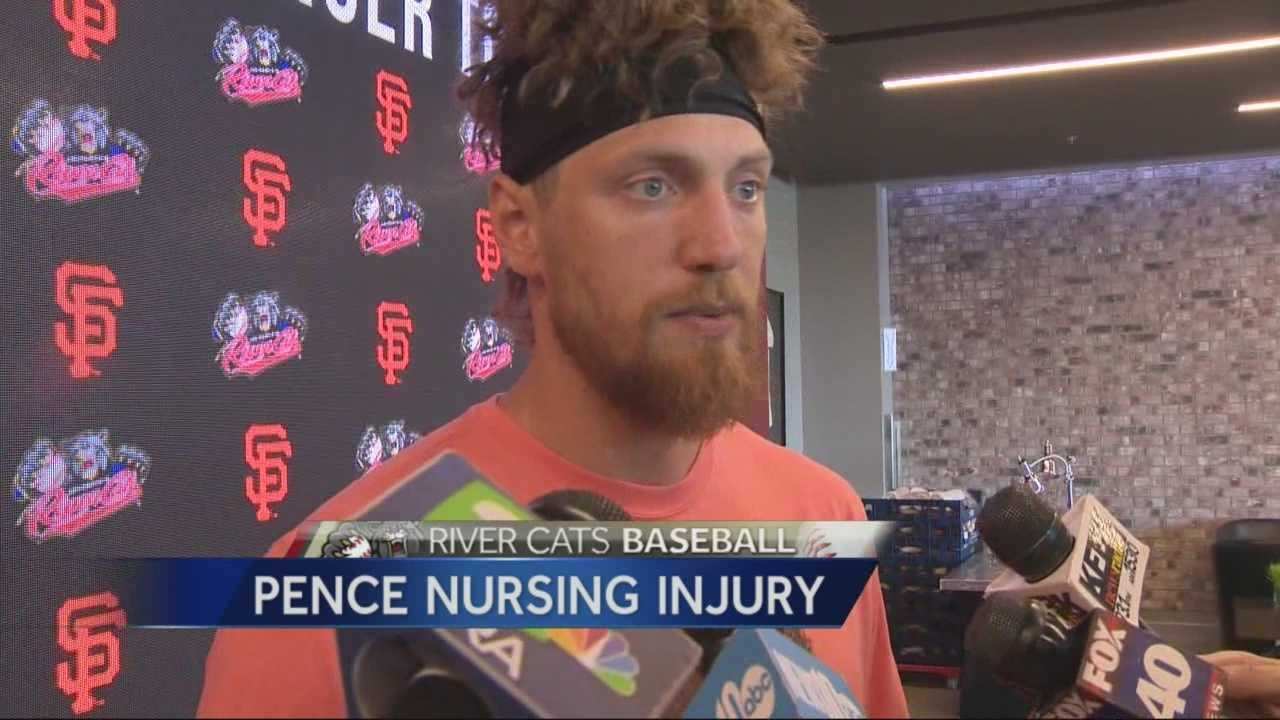 As Hunter Pence works his way back from a broken arm he suffered during spring training, he's spending his time with the hometown Sacramento River Cats