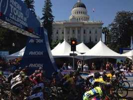 Cyclists are ready to depart the state Capitol for the first stage of the 2015 Amgen Tour of California. (May 10, 2015)